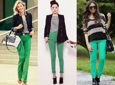 Resultado de imagem para calca verde como usar