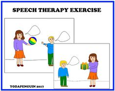 This exercise help children with autism to develop language,to structure sentences.Questions to ask: What mother says?What kid says/ answers?What kids says?