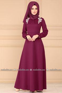 moda selvim Güpür ve İncili Elbise PL866 Şarabi Muslim Fashion, Hijab Fashion, Fashion Dresses, Muslim Dress, The Dress, Beautiful Dresses, Satin, Female, Womens Fashion