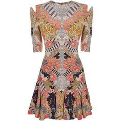 FOLKLORE FIN MINI-DRESS (39.962.265 IDR) ❤ liked on Polyvore featuring dresses, vestidos, alexander mcqueen, mcqueen, women, brown print dress, short dresses, mixed print dress, brown pleated dress and short pleated dress
