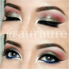 #glitter #makeup #EYES : @makeupgeektv eyeshadows : --Razzleberry (crease) --Simply Marlena (transition color (above crease) --Glamorous (Lid) --White Lies (Brow Bone) @makeupgeektv Pigments Utopia @makeupgeektv Gel Liner in #Electric