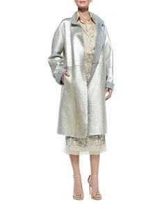 -5FBV Donna Karan Metallic Leather Topper Coat, Rolled-Sleeve Sateen Shirt & Embroidered Midi Skirt