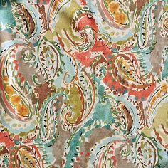 Beautiful green, pink, orange, blue, black, brown, and grey paisley drapery fabric by Swavelle Mill Creek. This fabric is perfect for any home decorating project such as drapes, curtains, pillows, and more.v112 EEF