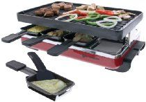 Swissmar KF-77046 Classic 8 Person Raclette with Reversible Cast Iron Grill/Griddle Plate, Red