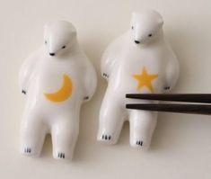 white bear chopstick rest