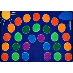 """""""The Rainbow Seating Rug has a fun design that will draw kids on to this super carpet. It has an arena style seating pattern that will brighten up classrooms. Classroom Carpets, Carpets For Kids, Going To California, Quality Carpets, Carpet Stains, Creative Play, Activity Centers, Innovation Design, Cool Designs"""