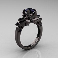 Classic 14K Black Gold 1.0 Carat Black Diamond Solitaire Engagement Ring R482-14KBGBD via Etsy