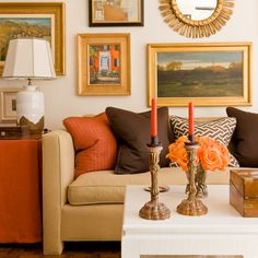 Ideas para decorar salones Brown And Orange