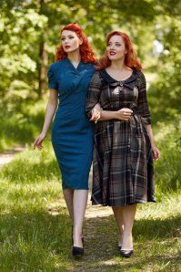 Miss Candyfloss Navy Tartan Swing Dress 102 39 19340 20161025 0033