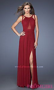 Buy Floor Length Sleeveless Dress with Cut Out Back at PromGirl