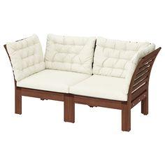 ÄPPLARÖ modular sofa, outdoor, with footstool brown stained, Kuddarna beige - IKEA Ikea Outdoor, Outdoor Sofa, Outdoor Seat Pads, Outdoor Cushion Covers, Outdoor Seat Cushions, Chair Cushions, Outdoor Furniture, Ikea Exterior, Plein Air Ikea