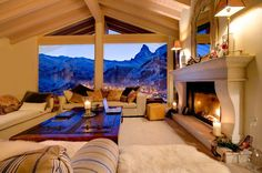 Cozy mountain home, with base view of the slopes :) Omg, love this.
