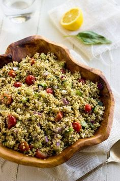 Mediterranean Couscous Salad - A quick, easy and healthy salad that is always a crowd pleaser!   Food Faith Fitness  #salad #recipe #couscous