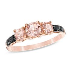 5.0mm Morganite and 1/10 CT. T.W. Enhanced Black Diamond Three Stone Ring in 10K Rose Gold