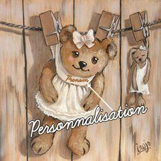 Tableau Ourson fille pince à linge 36, Vente TABLEAU Ourson pour Enfants - Decore Ta Chambre