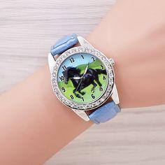 Horse Watches Men And Women Dress Fashion Leather strap Denim Wristwatch Quartz Watch Personality Casual Relogio