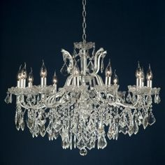 Silver 12 Branch Shallow Chandelier