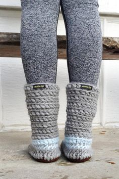 Knitted Slipper Boots with Leather Soles by MuffleUpSlippers