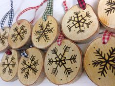 Set of 3 Rustic Hand-Etched Birch Snowflake by BirchLandingHome
