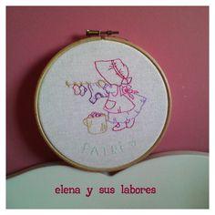 Bastidor bordado con una Sue, hand made embroidery from elenaysuslabores.blogspot.com.es
