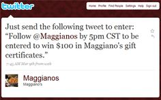 #Maggianos #Twitter campaign for gift certificate #marketing