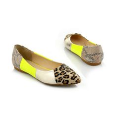 Vogue009 Girls Colorant Match Leopard Pattern Patent Leather Hollow Out Net Yarn Closed Pointed Toes Flats