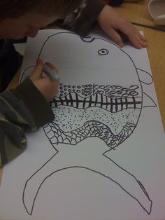 fathers day fish art idea ( write descriptive words inside fish first?)