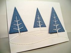 Poppystamps Stitched Pine Trees, Stick Pine Trees, Stitched Landscapes