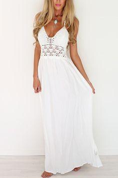 White Backless Halter vestido de praia de malha
