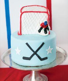 Slapshot Hockey Birthday Party // Hostess with the Mostess® Hockey Birthday Cake, Hockey Birthday Parties, Hockey Party, Baby Boy Birthday, Birthday Ideas, Kid Parties, 12th Birthday, Birthday Cupcakes, Birthday Celebration