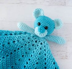 Meet Blue Baboo, an adorable crochet lovey pattern! Easy and fun with one skein of Red Heart Ombre yarn! Crochet Lovey Free Pattern, Crochet Bear Patterns, Crochet Bunny, Free Crochet, Baby Patterns, Crochet Toys, Crochet Angels, Crochet Things, Amigurumi Patterns