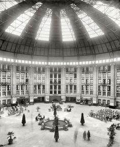 "West Baden, Indiana, circa 1903. ""The atrium, West Baden Springs Hotel."" 8x10 glass negative by William Henry Jackson, Detroit Publishing Co."