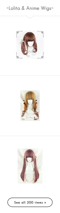 """""""~Lolita & Anime Wigs~"""" by grandmasfood ❤ liked on Polyvore featuring hair, hairstyle, wig, beauty products, haircare, hair styling tools, costume, accessories, wigs and makeup"""