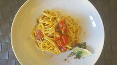 Spaghetti in salsa di odori, menta limone e pomodorini