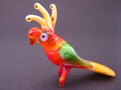 Glass Parrot Miniature Mini Animal Murano Glass by flameingo