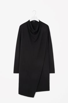COS image 2 of Draped collar jersey dress in Black