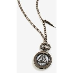 Harry Potter Deathly Hallows Watch Necklace ($27) ❤ liked on Polyvore featuring jewelry, necklaces, stone jewellery, triangle necklaces, circle jewelry, stone jewelry and stone necklace