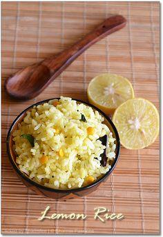 Lemon Rice  http://www.sharmispassions.com/2011/03/lemon-rice-lime-rice-recipe.html