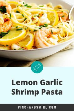 Easy and healthy Lemon Garlic Shrimp Pasta with succulent shrimp and a creamy sauce of butter, olive oil, and plenty of fresh lemon juice and zest! Made in just 20 minutes! One of those pasta recipes that you'll turn to over and over! Easy Summer Meals, Healthy Summer Recipes, Vegetarian Recipes, Lemon Garlic Pasta, Garlic Shrimp Pasta, Easy Pasta Recipes, Easy Dinner Recipes, Ragu Recipe, Creamy Cucumber Salad