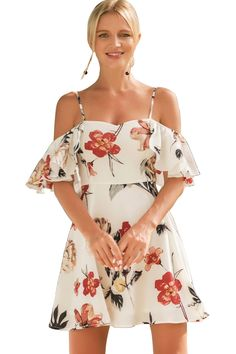 55fd29e6a11 Miomi Womens Summer Sexy White Floral Printed Off Shoulder Ruffled Sleeves  A Line Short Dress Medium