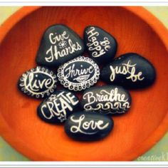 Craft idea- Maybe as a project, but with names? Stones & oil paint. Maybe as part of Prayer Walk?