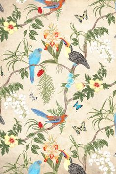 Stunning printed wallpaper floral & birds