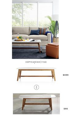 Crate And Barrel Cliff Coffee Table | $599 Vs @walmart Sauder Faux Marble Soft Modern Coffee Table | $95