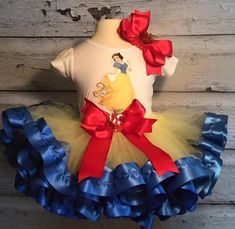 Snow White Tutu with ribbon trim, shirt, and hair bow. Sequin apples on the tutu bow and hair bow!