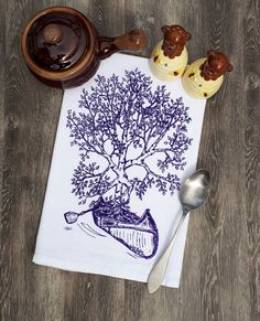 Kitchen Towel - Funny Towels - Flour Sack Cloth Towel - Teal Towel Cup Towel Hand Towel Tea Towels - Screen Printed - Purple - Birch Tree Hand Towels, Tea Towels, Flour Sack Towels, Birch Bark, Hand Illustration, Hand Designs, Thank You Gifts, Kitchen Towels, Hostess Gifts