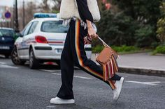 Track star #VeronikaHeilbrunner owns #PFW streetstyle #Chloe. The #Hudson tasselled bag now available now in store and online |  via @LeClubStyle.  #BrownsFashion #Streetstyle #ChloeGirls