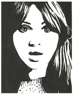 High contrast black and white art project of Karen Killan. Black/White series- beginning of year