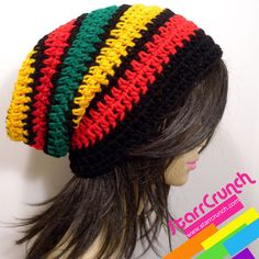 Slouchy Beanie Crochet Hat in Thick Rasta Stripes by StarrCrunch, $18.00