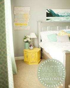 DIY Master Bedroom Makeover  in yellow, turquoise, and gray. Painted and build your own furniture.
