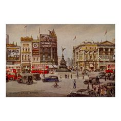 Vintage Piccadilly Circus London Art Print by aapshop - X-Small Piccadilly Circus, Old London, London Art, Circus Illustration, The Last Summer, London Poster, Aesthetic Vintage, Canvas Art Prints, Just For You